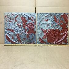 """2 pc Lot 17"""" by 17"""" Antique Ceiling Tin Metal Reclaimed Salvage Art Craft"""
