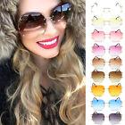 Women Oversized Clear Lens Rimless Sunglasses Gold Metal Frame Vintage Eyewear
