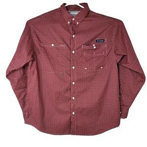 Columbia PFG Omni Shade Mens Size L Red Check Button Down Fishing Hiking Shirt