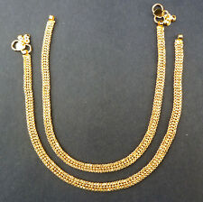 "Indian Gold Plated 10"" Payal Foot Designer Chain Anklet Set Women Jewelry ABDF"