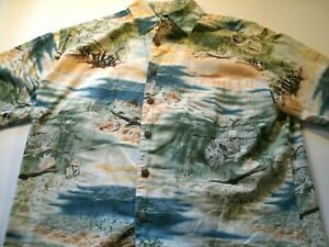 Kahala Mens Size Medium Hawaiian Shirt Short Sleeve Multi-color