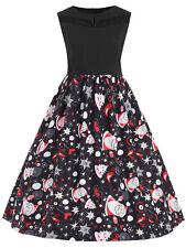 Women Christmas Party Sleeveless Dress Xmas Vintage Skater Dress Plus Size 18-26