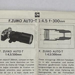 Olympus F Zuiko Auto T 1:4.5 F 300mm Lens Camera Brochure Advertisement Ad