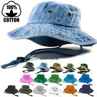 Boonie Bucket Hat Cap 100% Cotton Fishing Military Hunting Safari Summer Men