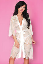 LIVCO CORSETTI Narele Luxury Super Soft Decorative Lace Dressing Gown / Robe