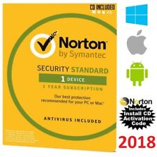 NEW Norton Security Standard AntiVirus 2018 For Windows Mac Android CD INCLUDED