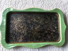 Vtg Vanity Dresser Tray Celluloid Bakelite Marbelized Glass Insert Silk Flowers