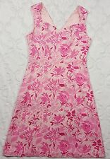 Petite Sophisticates Womens Pink Dress Floral 100% Silk Sleeveless Sheath Size 6