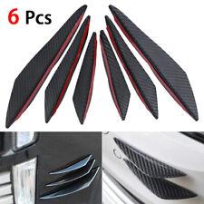 6 x Universal Front Bumper Lip Splitter Fins Spoiler Canards Carbon Fiber Black