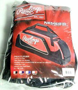 "Rawlings NEMESIS Player Bag/Backpack holds 3 Bats, Helmet & Shoes 35""x8""x12"" NEW"