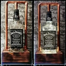 Handmade Steampunk Industrial Copper Pipe Whiskey Bottle LED Lamp