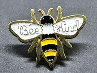 Bee Kind Pin Badge Bumble Bee Gold Tone Metal Enamel Brooch Broach