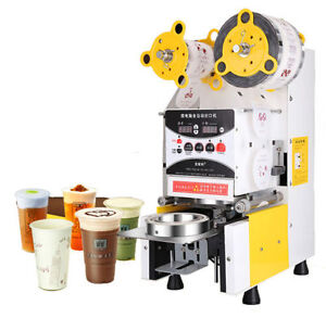 Full Automatic Bubble Fruit Juice Milk Tea Cup Sealing machine Sealer 220V Biz