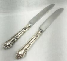 """Set of 2 Meadow Rose by Watson Sterling Dinner Knives-9 3/4"""" As Is Blades"""