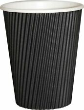 8oz Black Insulated Ripple Disposable Paper Coffee Cups x100