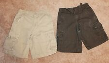 "LOT OF 2 * Boys' 8 CARGO SHORTS (green & khaki w/ adjust. waist; 9-10"" inseam)"