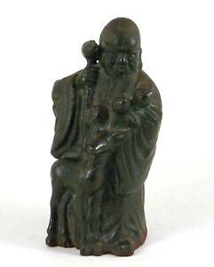 "Antique Chinese Cast Iron Longevity Deity Figure Shou Lao w/Deer Peaches Qing 6"""