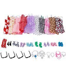 Zufällige 10 Kleid Outfit+10 Schuhe+6 Halsket+4 Gläser Kleidung Für Barbie Puppe