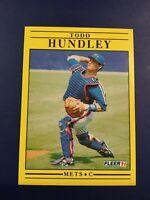 1991 Fleer #150 TODD HUNDLEY Rookie RC New York Mets Yellow LOOK !