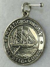 Ship Charm Connecticut Ct Conn Vintage Sterling Silver Mystic Seaport Tall