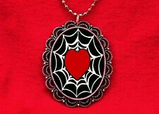 SPIDER WEB HEART TATTOO PENDANT NECKLACE ROCKABILLY
