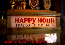 "BEER TAP HANDLE DISPLAY  with LED lighted bar sign "" HAPPY HOUR . "" HOLDS 7 TAPS"