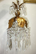 1of3 lamp SWAG plugin chandelier Vintage gilt Tole Brass Italian Lily Florentine