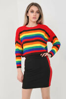 Ladies Womens rainbow stripe Rib knitted long sleeve jumper Knitwear Top 8-14