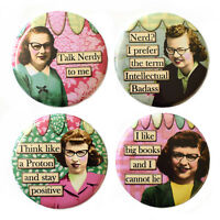 Retro Nerd Girls Fridge Magnets Set 55mm 4pc Funny Novelty Gift Geek Kitsch
