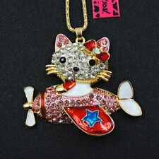 Lovely Cat Shiny Rhinestone Crystal Betsey Johnson Chain Necklace