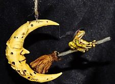 Harmony Kingdom Artist Neil Eyre Designs halloween witch frog flying broom moon
