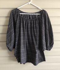 A.n.a. women's XL black tan animal print flowy batwing dolman sleeve blouse top