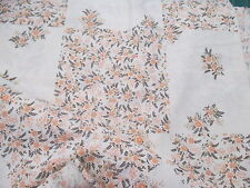 Cream with Apricot & Brown Patchwork Design on Sheeting Fabric Sewing Material