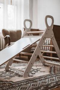 Pikler + Rutschbrett+Griff Rutschset Kletterdreieck  Montessori Schreibtafel