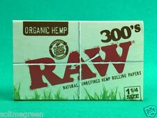 Raw 300's Organic 1 1/4 Rolling Paper Natural Unrefined Unbleached 79mm