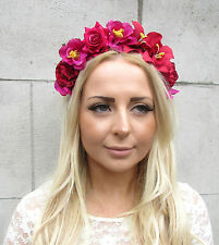 Gold Hot Pink Red Rose Orchid Hibiscus Flower Garland Headband Hair Crown 2172