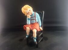 Capadimonte Adorable Little Girl Sitting On Chair Vintage Artist Signed Pottery