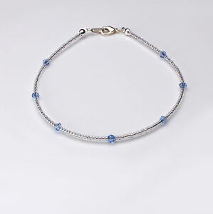 Light Sapphire Blue Swarovski Crystal Elements and Clear Seedbead Anklet