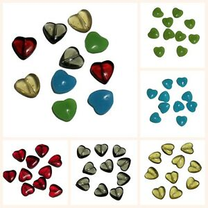 Glass Heart Beads, Pack of 10, Choice of Colour or Mixed