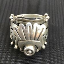 ANTIQUE STERLING SILVER TAXCO MEXICO VOO POISON SECRET STASH RING