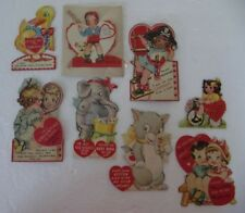 Vintage Valentine Cards Lot of 8 variety sweethearts cat duck elephant curls Usa