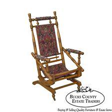 Antique 19th Century Victorian Carpet Upholstered Platform Rocker