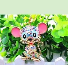 Betsey Johnson colorful baby Mouse Crystal Pendant Long Chain Necklace Gift Box