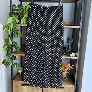 Zara Woman Size M / UK 10 Black & White Polka Dot Cropped Wide Leg Trousers