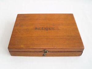 Antique Bezique Wooden Box with De La Rue Cards & Bezique Markers - old vintage
