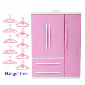 Dolls Cloest Wardrobe with Mirror + 10xHangers For Barbie Doll Bedroom Set Toys