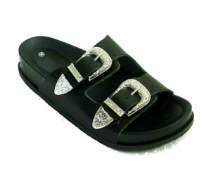 Womens Ex Store Black Western Sliders Double Buckle Footbed Sandals Size UK 3-8