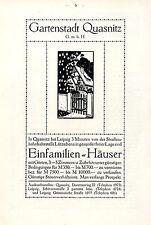 Gartenstadt Quasnitz bei Leipzig Einfamilien-Häuser Künstlerwerbung/ Bericht1914