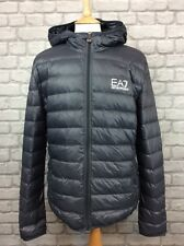 EA7 EMPORIO ARMANI MENS UK XXL BUBBLE DARK GREY HOODED DOWN JACKET  PUFFA