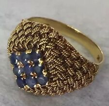 Antique Art Nouveau 0.45tcw Blue Sapphire 18K Solid Yellow Gold Filigree Ring